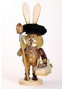 Rauchhase mit Korb Original Erzgebirgische Volkskunst aus Seiffen Ostern Hase
